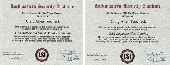 Craig Toocheck's GSA certifications