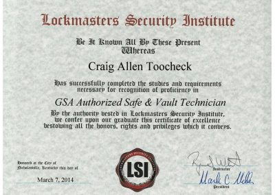 CraigToocheck's GSA Authorized Safe & Vault Technician Certificate