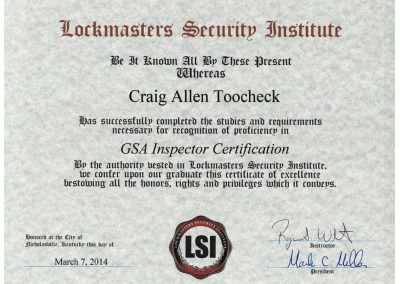 CraigToocheck's GSA Inspector Certificate